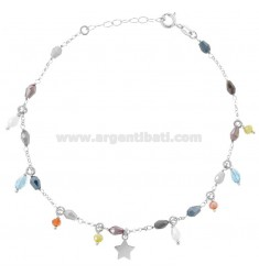 ANKLE ROLO 'WITH CRYSTALS AND STARS IN SILVER RHODIUM TIT 925 ‰ CM 22 EXTENDABLE TO 25