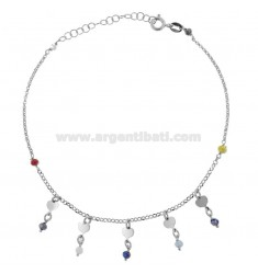 ANKLE ROLO 'WITH CRYSTALS AND HEARTS PENDING IN SILVER RHODIUM TIT 925 ‰ CM 22 EXTENDABLE TO 25