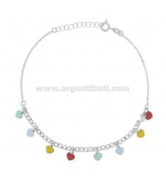 ANKLE GROUMETTE WITH HEARTS IN SILVER RHODIUM TIT 925 SM ENAMEL 22 CM EXTENDABLE TO 25