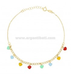 ANKLE GROUMETTE WITH HEARTS IN GOLDEN SILVER TIT 925 SM ENAMEL 22 CM EXTENDABLE TO 25