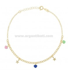 ANKLE CABLE WITH HEARTS AND STARS IN GOLDEN SILVER TIT 925 SM ENAMEL 22 CM EXTENDABLE TO 25
