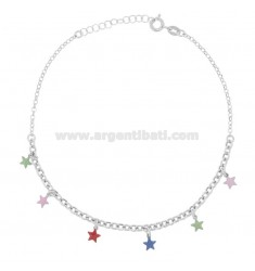 ANKLE CABLE WITH STARS IN SILVER RHODIUM TIT 925 SM ENAMEL 22 CM EXTENDABLE TO 25
