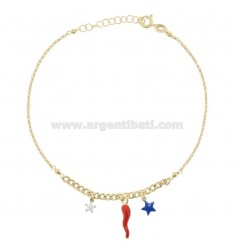ANKLE GROUMETTE WITH STARS AND GOLDEN SILVER HORN TIT 925 ‰ ENAMEL 22 CM EXTENDABLE TO 25