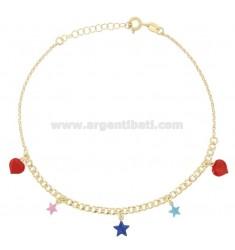 ANKLE GROUMETTE WITH STARS AND HEARTS IN GOLDEN SILVER TIT 925 SM ENAMEL 22 CM EXTENDABLE TO 25