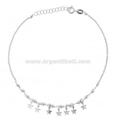 ANKLE ROLO 'WITH PENDING STARS IN SILVER RHODIUM TIT 925 ‰ CM 22 EXTENDABLE TO 25
