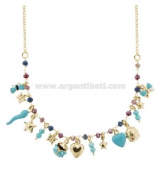NECKLACE WITH CHARMS AND CRYSTALS IN GOLDEN SILVER TIT 925 SM ENAMEL 40 CM