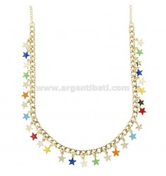 GROUMETTE NECKLACE WITH STARS IN GOLDEN SILVER TIT 925 ‰ AND ENAMEL 40 CM