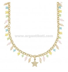 NECKLACE CABLE WITH STAR AND CRYSTALS IN GOLD PLATED SILVER TIT 925 ‰ CM 40