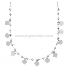 STRINGICOLLO NECKLACE WITH STONES HEARTS IN SILVER RHODIUM TIT 925 ‰ CM 35-38