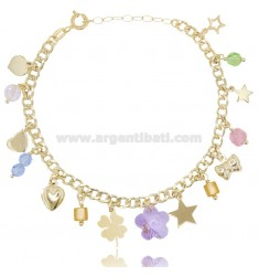 GROUMETTE BRACELET WITH CHARMS AND CRYSTALS IN GOLD PLATED SILVER TIT 925 ‰ CM 18