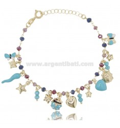 BRACELET WITH CHARMS AND CRYSTALS IN GOLDEN SILVER TIT 925 ‰ ENAMEL 18 CM