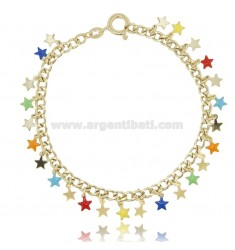 GROUMETTE BRACELET WITH STARS IN GOLDEN SILVER TIT 925 ‰ AND ENAMEL CM 18