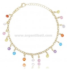 NECKLACE CABLE WITH CRYSTALS IN GOLDEN SILVER TIT 925 ‰ CM 18