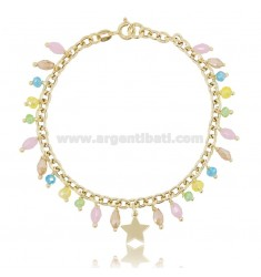 CABLE BRACELET WITH STAR AND CRYSTALS IN GOLD PLATED SILVER TIT 925 ‰ CM 18