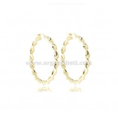 CIRCLE EARRINGS 30 MM WITH ROUND BARREL TORCHON 3 MM IN GOLD SILVER TIT 925 ‰