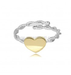 RING WITH TORCHON WIRE AND BICOLOR SILVER HEART TIT 925 ADJUSTABLE SIZE