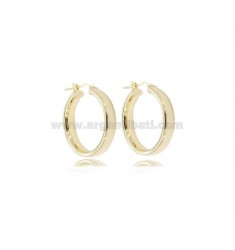 EARRINGS A CIRCLE 20 MM BARREL CRUSHED 4 MM SILVER GOLDEN TIT 925