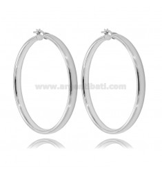 CIRCLE EARRINGS 50 MM BARREL CRUSHED 4 MM SILVER RHODIUM TIT 925
