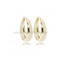 DEGRADE ROUNDED PLATE CIRCLE EARRINGS 40 MM GOLDEN SILVER TIT 925