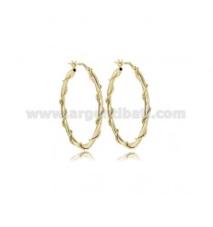 INTERNAL CIRCLE EARRINGS 30 MM ROUND ROD 2 MM WITH TWISTED WIRE DIAMOND SILVER TIT 925