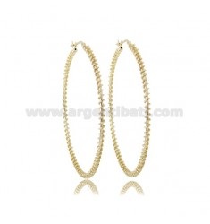 INTERNAL CIRCLE EARRINGS 50 MM ROUND ROD 2 MM WITH TWISTED WIRE DIAMOND SILVER TIT 925