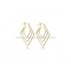 EARRINGS A 3 WIRE ROMBO 29X29 MM GOLDEN SILVER TIT 925