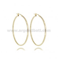 CIRCLE EARRINGS 40 MM WITH ROUND DIAMOND BARREL 2 MM GOLDEN SILVER TIT 925