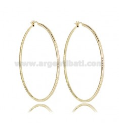 CIRCLE EARRINGS 50 MM WITH ROUND DIAMOND BARREL 2 MM GOLDEN SILVER TIT 925