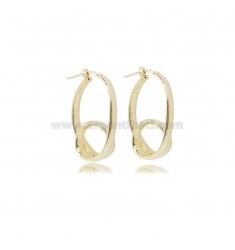 OVAL CIRCLE EARRINGS WITH CURL 34X20 MM GOLDEN SILVER TIT 925
