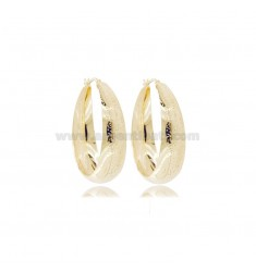 CIRCLE EARRINGS WITH ROUNDED DEGRADE DIAMOND 40 MM SILVER GOLDEN TIT 925