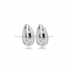 CIRCLE EARRINGS WITH ROUNDED SHEET DEGRADE 30 MM SILVER RHODIUM TIT 925