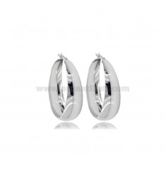 CIRCLE EARRINGS WITH ROUNDED SHEET DEGRADE 40 MM SILVER RHODIUM TIT 925