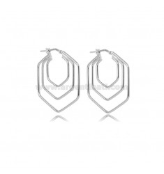 HEXAGONAL CIRCLE EARRINGS 3 WIRES 30X30 MM SILVER RHODIUM TIT 925