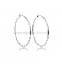 CIRCLE EARRINGS 40 MM WITH ROUND DIAMOND BARREL 2 MM SILVER RHODIUM TIT 925
