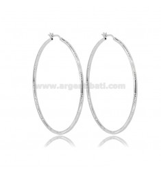 CIRCLE EARRINGS 50 MM WITH ROUND DIAMOND BARREL 2 MM SILVER RHODIUM TIT 925
