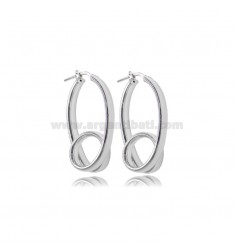 OVAL CIRCLE EARRINGS WITH CURL MM 34X20 SILVER RHODIUM TIT 925
