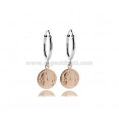 CIRCLE EARRINGS 12 MM WITH ROUND BARREL MM 2 AND PENDANT COIN 12 MM IN SILVER RHODIUM AND ROSE TIT 925