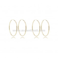 EARRINGS CIRCLE ROD 1.2 MM DIAMETER 25 MM 2 PAIRS IN GOLD SILVER TIT 925 ‰