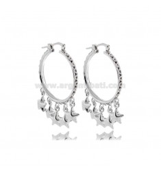 EARRINGS A CIRCLE 20 MM WITH STARS IN SILVER RHODIUM TIT 925