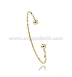 BRACCIALE RIGIDO A CANNA TONDA DIAMANTATA MM 2 IN ARGENTO DORATO TIT 925‰