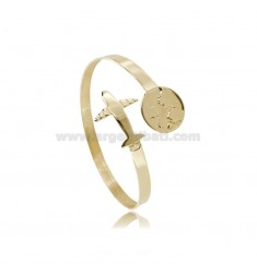 CONTRARY RIGID BRACELET WITH CRUSHED BARREL MM 5 WITH WORLD AND PLANE IN GOLDEN SILVER TIT 925 ‰