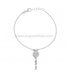 ROLO BRACELET 'WITH PENDANT KEY IN SILVER RHODIUM TIT 925 CM 17-19