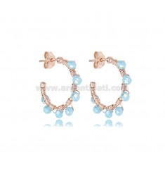 CIRCLE EARRINGS MM 15 IN ROSE SILVER WITH LIGHT BLUE STONES TIT 925
