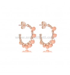 CIRCLE EARRINGS MM 15 IN ROSE SILVER WITH PINK CORAL PASTE TIT 925