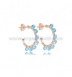 CIRCLE EARRINGS MM 15 IN ROSE SILVER WITH CLEAR STONES TIT 925