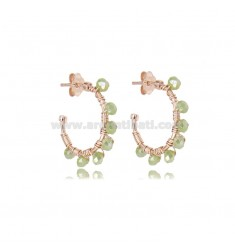 CIRCLE EARRINGS MM 15 IN ROSE SILVER WITH GREEN STONES TIT 925