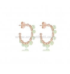 CIRCLE EARRINGS MM 15 IN ROSE SILVER WITH GREEN WATER STONES TIT 925