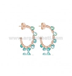 CIRCLE EARRINGS MM 15 IN ROSE SILVER AND EMERALD GREEN STONES TIT 925