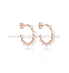 CIRCLE EARRINGS MM 15 IN ROSE SILVER WITH PINK STONES LIGHT TIT 925