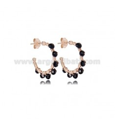 CIRCLE EARRINGS MM 15 IN ROSE SILVER WITH BLACK STONES TIT 925